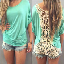 Fashion Womens Lace Hollow Loose Casual Blouses Tops Cotton Blend Tees