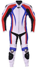 Motorcycle Racing Cowhide leather biker Suit white blue red