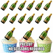 PRE-CUT 24th Birthday Champagne Bottle Edible Cup Cake Toppers Cake Decorations