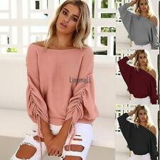 Women Off Shoulder Elastic Ruched Batwing Long Sleeve Solid Knitted Blouse LM