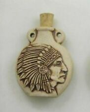 High Fired Ceramic Pottery Bottle-Necklace, Native American Chief Design