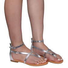 Chic Women V-Strap Thong Flat Gladiator Sandals Run One Size Small Silver