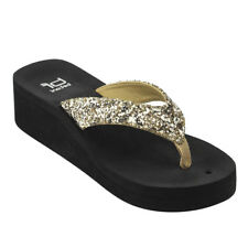 Contemporary Women's Glitter Slip On Thong Style Platform Wedge Sandals Gold