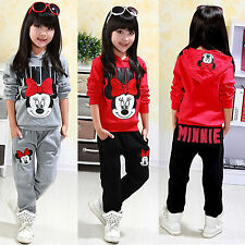 2pcs Kids Girl Minnie Mouse Clothes Tracksuit Top Hoodie Pant Outfits Casual Set