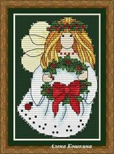 ANGEL WITH A WREATH Holidays Counted Cross Stitch Chart Needlework Pattern PDF