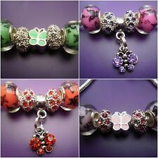 Beads charms - fit /for European charm bracelets 5 Beads-Butterfly & rhinestone