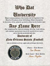 NEW ORLEANS SAINTS   ~FAN~ CERTIFICATE ~ DIPLOMA ~ GIFT ~ MAN CAVE ~ OFFICE