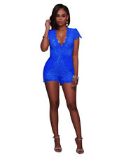 Women's Deep V-Neck Short Sleeve Summer Fashion Casual Lace Jumpsuits Rompers