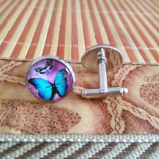 Men Silver Coloured Metal Blue Butterfly Cuff Links Cufflinks  Gift Bag or Box