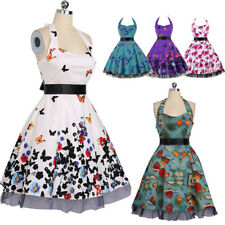 Women Sexy Swing Party Prom Dress Halter Sweetheart 50s Butterfly Vintage Dress