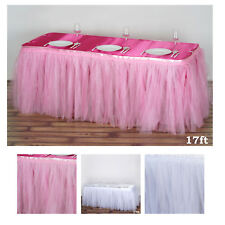 17 FT Two Layered Tulle Tutu Wedding Party Banquet Table Skirt With Satin Edge
