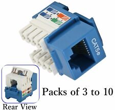 Blue Cat5e Punch Down Network Jack Female RJ45 Ethernet for Keystone Wall Plate