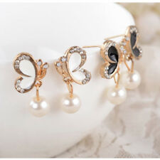 Fashion New Jewelry Women Crystal Gold Butterfly Pearl Ear Stud Earrings Earbob
