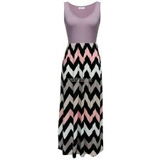 Meaneor Women Sleeveless Elastic Waist Striped Long Maxi Dress WST02