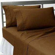 CHOCOLATE SOLID 1000 TC EGYPTIAN COTTON BED DUVET SET/FITTED SHEET/SHEET SET