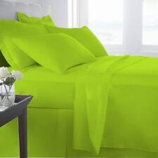 PARROT GREEN SOLID 1000 TC EGYPTIAN COTTON BED DUVET SET/FITTED SHEET/SHEET SET
