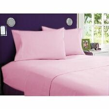 PINK SOLID 1000 TC EGYPTIAN COTTON BED DUVET SET/FITTED SHEET/SHEET SET