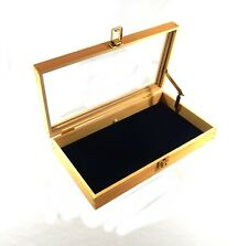 Key Locking Wood Glass Top 72 Ring Display Case Box with Lid Support
