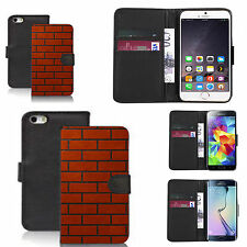 faux leather wallet case for many Mobile phones - red brick