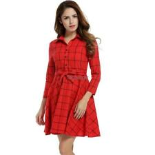 Women Lapel 3/4 Sleeve Plaid Belted Casual Swing Shirt Dress OK 02