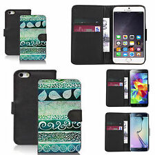 faux leather wallet case for many Mobile phones - green desire print