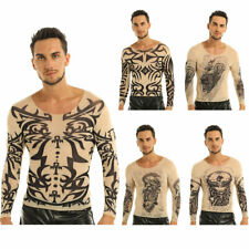 Mens Fake Tattoo Design Long Sleeve T-Shirt Tops Tee temporary costume party