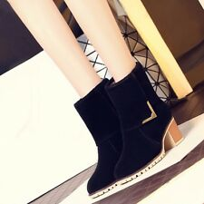 Nice!! Womens Synthetic Suede Med Block Heels Casual Solid Boots Shoes For Lady