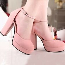 Womens Synthetic High Heels Stilettos Platforms Ankle Straps Solid Shoes Nice!!