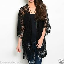 """Black"" Boho Hippie Gypsy Sheer Lace Sequins Crochet Fringe Kimono-K-CN219680"