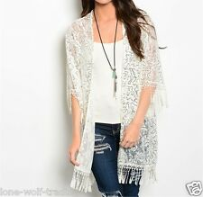 "Ladies ""Ivory"" Hippie Gypsy Sheer Lace Sequins Crochet Fringe Kimono-K-CN219686"