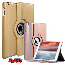 Leather 360° Degree Rotating Smart Stand Case Cover For Apple iPad Rose Gold
