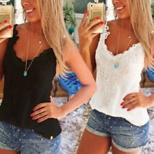Women's Lace Sexy Vest Top Sleeveless Casual Tank Blouse Summer Tops T-Shirt Hot