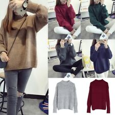 Women Long Sleeve High Crewneck Knit Sweater Loose Vintage Oversized Pullover