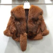 new Womens 100% Genuine Real Fox Fur short Coat Jacket Cape Wrap Poncho winter