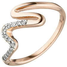 Ladies Ring925 Sterling Silver Red Gold Gold Plated 13 Zirconia Finger Ring