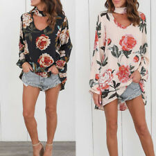 Womens Top Floral Long Sleeve T Shirts Top Ladies V Neck Loose Casual Blouse