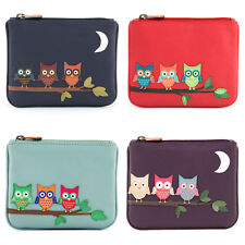 Women's Genuine Leather Zip Top Purse with Owl Applique by 1642 - RRP £12.50