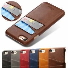 For iPhone 7 8 Plus Retro Leather Wallet Credit Card Slot Back Case Skin Cover