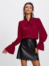 Bow Blouse Tie Cuff Sleeve Top Long Shirt Burgundy New Work Elegant Fall New