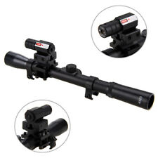 Tactical LED Red Laser Sight Scope+Barrel Mount+4x20 Air Rifle Telescopic Sight