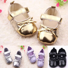 New 0-12M Baby Girls Walking Shoes Infants PU Toddler Bright Princess Shoes