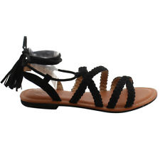 Contemporary Women Strappy Braided Criss Cross Lace Up Tassel Flat Sandals Black