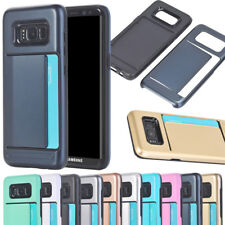 Slim Hybrid Armor Bumper Case Cover with Card Holder Slot For Samsung Galaxy S8+
