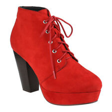 Chic Contemporary Women's Red Lace Up Stacked Chunky Heel Platform Ankle Bootie