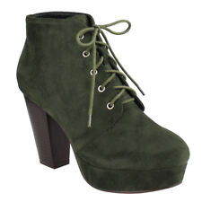 Chic Women's Olive Lace Up Stacked Chunky Heel Platform Ankle Bootie