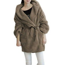Women Hooded Fluffy Coat Fleece Faux Fur Poncho Jacket Outerwear Top Winter Warm