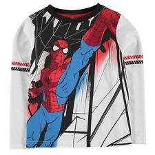 KIDS BOYS WHITE MARVEL COMICS SPIDER-MAN LONG SLEEVE RETRO TEE SHIRT T-SHIRT