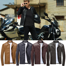 New Men Stand Collar Long Sleeve PU Leather Coat Zipper Motocycle Biker Jacket