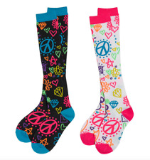 Knee High Socks 3C4G Rainbow Doodle Neon Hearts Peace Fits Shoe Size Youth 13-6
