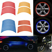 16 Strips Reflective Motorcycle Rim Stripe Wheel Decal Tape Stickers Universal